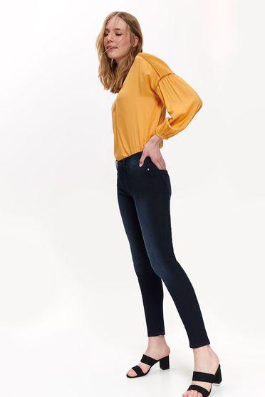 Blugi Top Secret albastri casual skinny cu talie medie din bumbac elastic cu buzunare