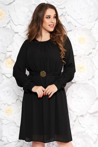 Rochie LaDonna neagra eleganta cu croi larg din voal captusita pe interior accesorizata cu cordon