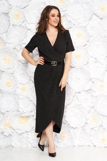 Rochie neagra eleganta cu un croi mulat din material usor elastic cu aplicatii cu paiete cu accesoriu tip curea