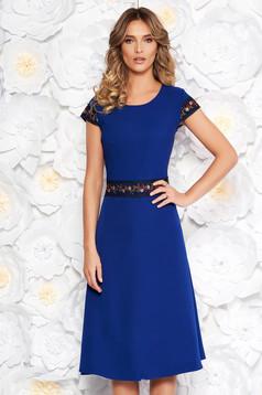 Blue elegant midi cloche dress slightly elastic fabric with embroidery details