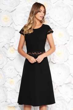 Black elegant midi cloche dress slightly elastic fabric with embroidery details