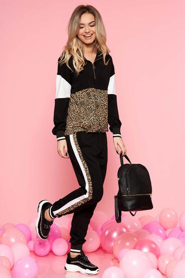 Set SunShine negru casual din bumbac usor elastic cu imprimeu de leopard cu buzunare