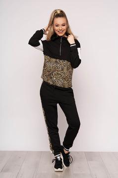 Trening dama SunShine negru casual din bumbac usor elastic cu imprimeu de leopard si buzunare