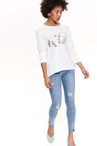Bluza dama Top Secret alba casual cu croi larg cu maneci trei-sferturi