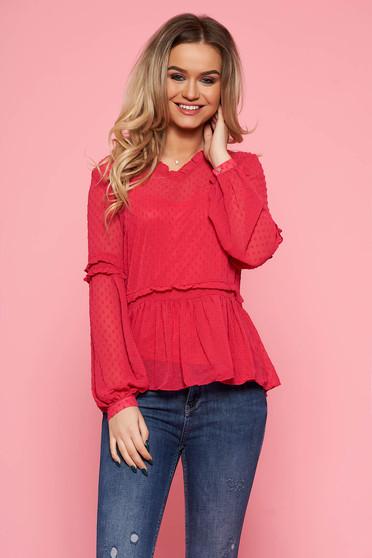 Bluza dama Top Secret roz-inchis casual cu croi larg din material transparent captusita pe interior cu decolteu in v