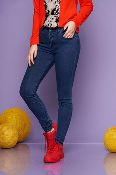 Darkblue casual skinny jeans jeans slightly elastic cotton with pockets with medium waist