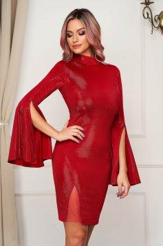 Rochie Artista rosie de party scurta din material lucios cu maneci clopot