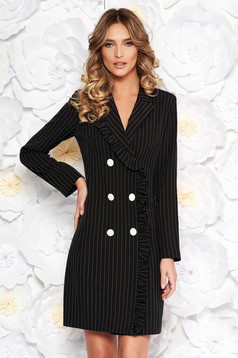 LaDonna black office blazer type dress from non elastic fabric with inside lining with pockets