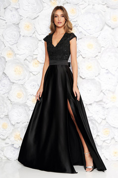 Artista black occasional cloche dress with v-neckline with push-up cups from satin fabric texture from laced fabric