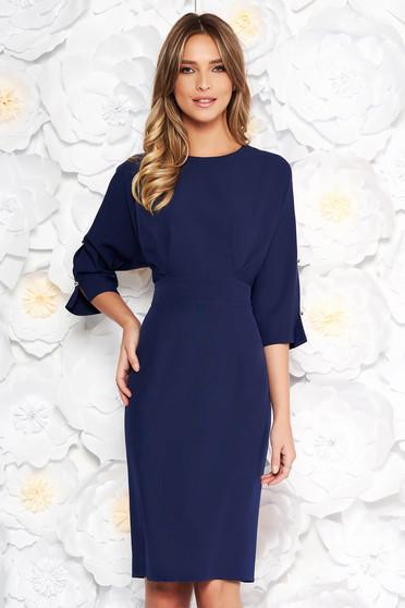 Rochie albastra-inchis eleganta tip creion din stofa usor elastica cu maneci decupate