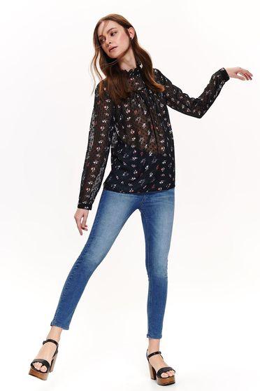 Bluza dama Top Secret neagra casual cu croi larg din material subtire cu imprimeuri florale
