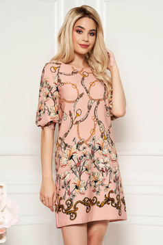 Rochie LaDonna rosa eleganta cu croi in a din material usor elastic cu imprimeu floral