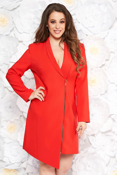 Rochie LaDonna rosie eleganta tip sacou din stofa neelastica captusita pe interior cu maneci lungi