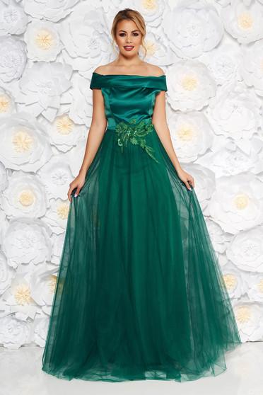 Rochie Artista verde-inchis de ocazie din tul si material satinat cu aplicatii de dantela cu perle captusita pe interior
