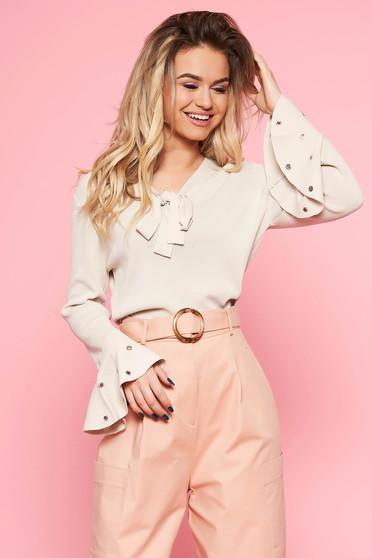 Bluza dama SunShine crem casual cu croi larg din material usor elastic cu maneci clopot si guler tip esarfa