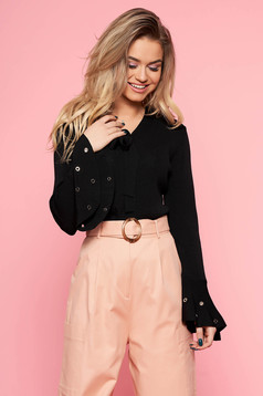Bluza dama SunShine neagra casual cu croi larg din material usor elastic cu maneci clopot si guler tip esarfa