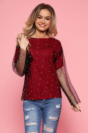 Bluza dama SunShine rosie casual cu croi larg din tul captusita pe interior cu aplicatii cu margele