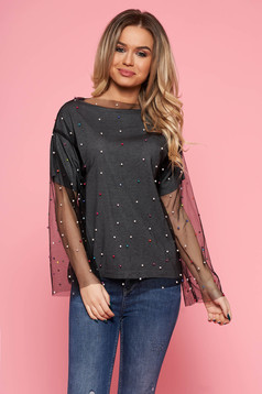 Bluza dama SunShine gri casual cu croi larg din tul captusita pe interior cu aplicatii cu margele