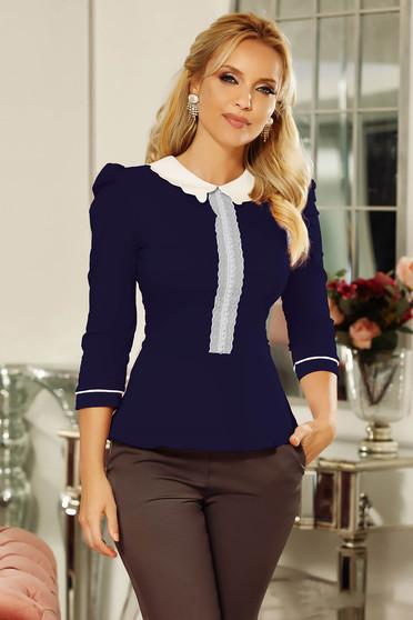 Camasa dama Fofy albastra-inchis office cu un croi mulat din bumbac usor elastic cu aplicatii de dantela cu perle