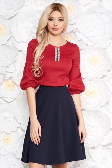 Bluza dama StarShinerS rosie office cu un croi mulat din material subtire cu maneci bufante