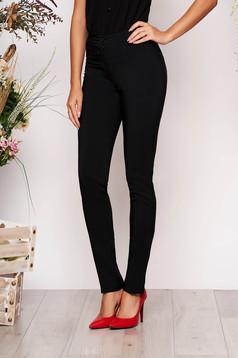 Pantaloni LaDonna negri office conici cu talie medie din material usor elastic cu buzunare false