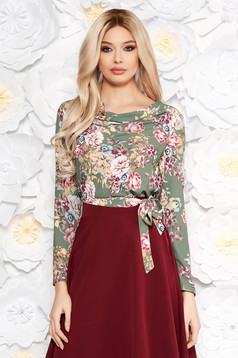 Bluza dama StarShinerS khaki office din material usor elastic cu imprimeuri florale accesorizata cu cordon