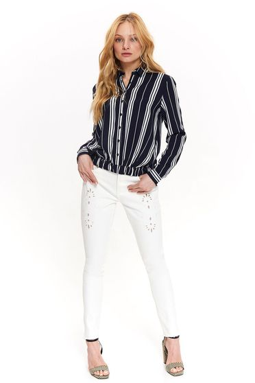 Bluza dama Top Secret albastra-inchis cu croi larg cu elastic in talie din material vaporos