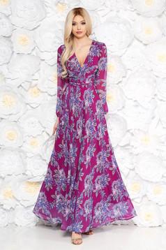 Rochie mov lunga in clos cu maneci lungi cu imprimeuri florale cu elastic in talie