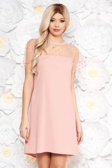 Rochie rosa maneci scurte, transparente cu croi larg