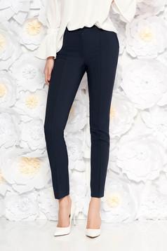 Pantaloni LaDonna albastri-inchis office conici cu talie medie din material usor elastic cu buzunare false