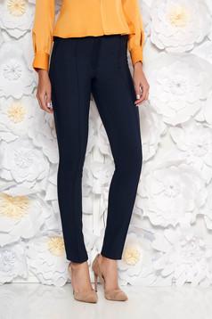 Pantaloni LaDonna albastru-inchis office conici cu talie medie din material usor elastic cu buzunare false