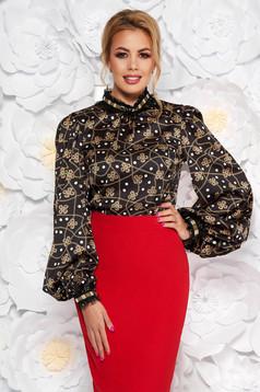 Bluza dama LaDonna neagra eleganta cu maneci lungi cu croi larg