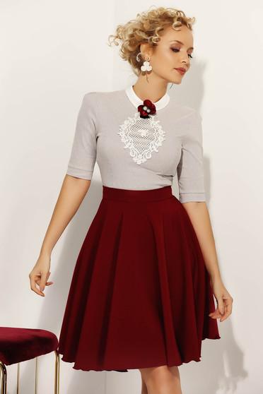 Camasa dama Fofy gri office cu un croi mulat din bumbac usor elastic cu aplicatii de dantela tricotata