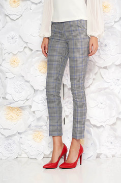 Pantaloni gri office din stofa in carouri cu talie medie