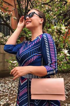 Rochie StarShinerS albastra in clos din material elastic cu print CUSTOM MADE