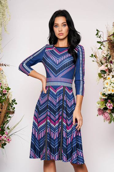Rochie StarShinerS albastra in clos din material elastic cu print CUSTOM MADE