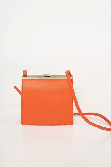 Geanta dama portocalie de party din piele ecologica