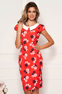 Red dress daily pencil with floral print slightly elastic fabric