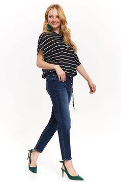 Blugi Top Secret albastri skinny cu talie medie din bumbac usor elastic