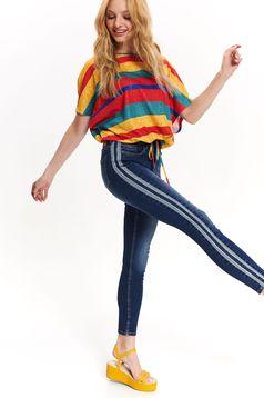 Pantaloni Top Secret albastri skinny din denim cu un croi mulat cu talie medie