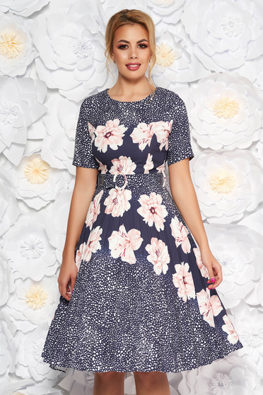 Rochie Fofy rosa de zi in clos din material usor elastic cu imprimeu floral cu accesoriu tip curea