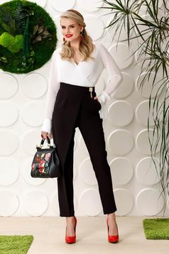 Pantaloni PrettyGirl negri eleganti cu talie inalta din stofa usor elastica cu accesoriu metalic