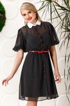 Rochie PrettyGirl neagra eleganta de zi in clos din voal cu buline cu accesoriu tip curea