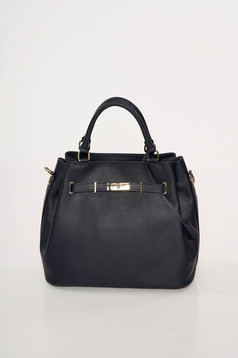 Darkblue office bag natural leather with metalic accessory