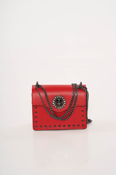 Red bag natural leather with metallic spikes long chain handle leather