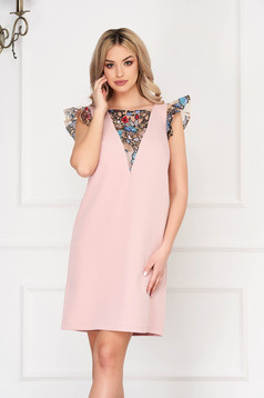 StarShinerS lightpink dress elegant short cut straight cloth with butterfly sleeves with sequin embellished details