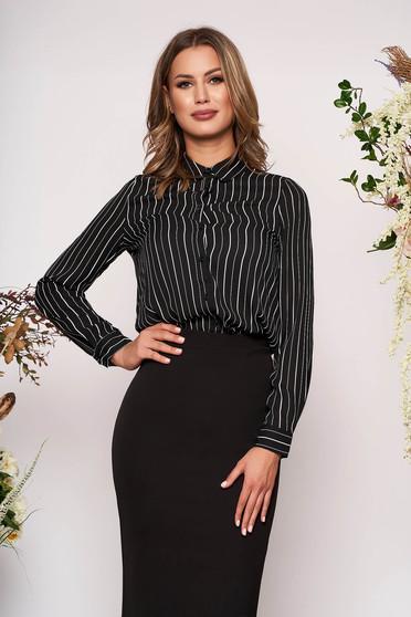 Camasa dama StarShinerS neagra eleganta cu croi larg din material subtire cu dungi