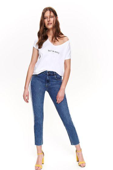 Pantaloni Top Secret albastri conici cu talie medie din denim