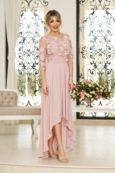 Rochie StarShinerS rosa de ocazie asimetrica in clos accesorizata cu cordon