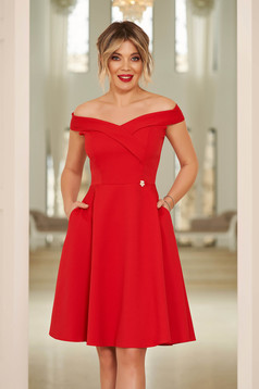 StarShinerS red occasional elegant cloche dress with a cleavage off shoulder flexible thin fabric/cloth